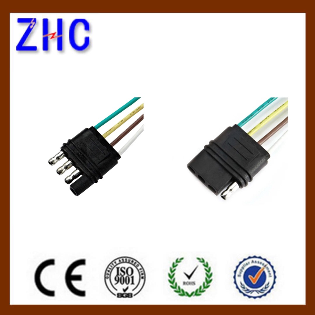 American Type Trailer Connector Power Cord 4 Ways Flat Plug Socket With 18 Awg 36 U0026quot  Cable